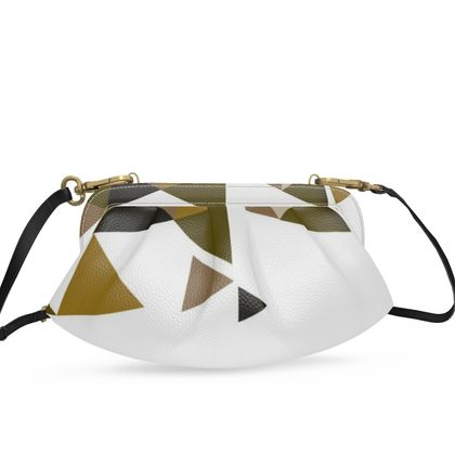 Small Pleated Soft Frame Bag - Geometric Triangles Orange