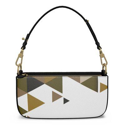 Medium Zip Box Bag - Geometric Triangles Orange