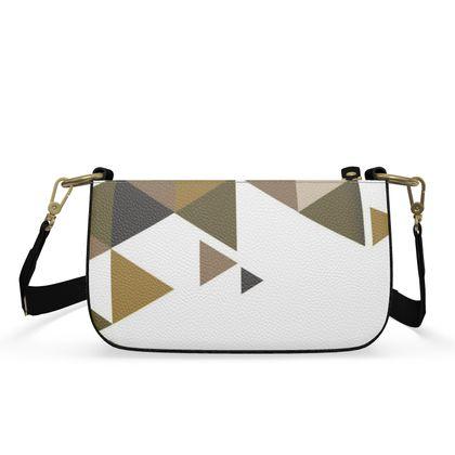 Small Zip Box Bag - Geometric Triangles Orange