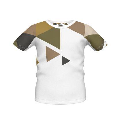 Boys Simple T-Shirt - Geometric Triangles Orange
