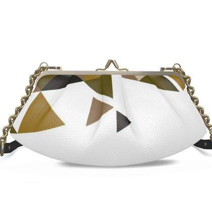 Large Pleated Frame Bag - Geometric Triangles Orange