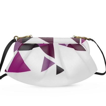 Large Pleated Soft Frame Bag - Geometric Triangles Pink