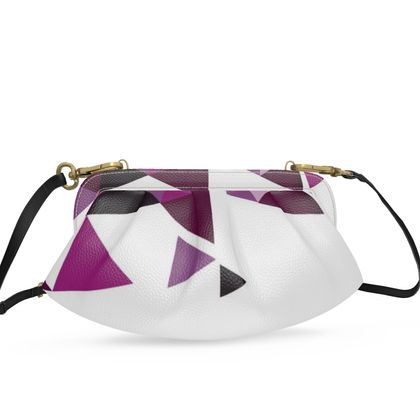 Small Pleated Soft Frame Bag - Geometric Triangles Pink