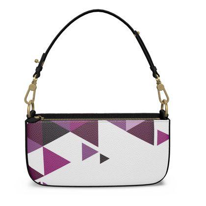 Medium Zip Box Bag - Geometric Triangles Pink