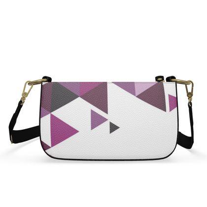 Small Zip Box Bag - Geometric Triangles Pink
