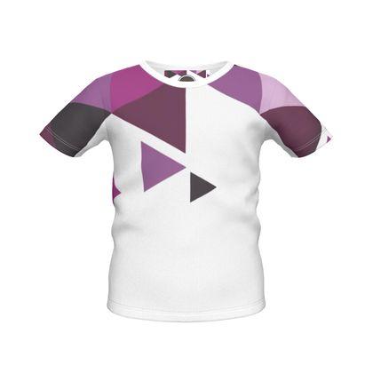 Boys Simple T-Shirt - Geometric Triangles Pink
