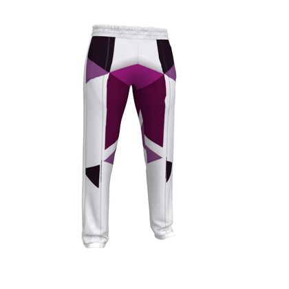 Mens Tracksuit Trousers - Geometric Triangles Pink