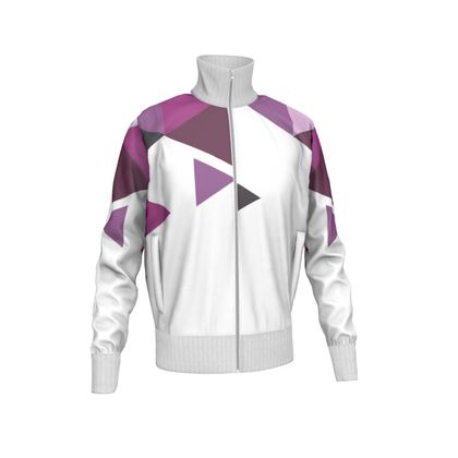 Mens Tracksuit Jacket - Geometric Triangles Pink