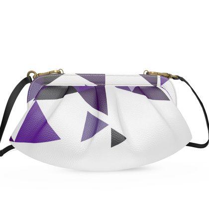 Large Pleated Soft Frame Bag - Geometric Triangles Purple