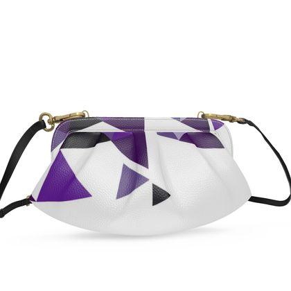 Small Pleated Soft Frame Bag - Geometric Triangles Purple