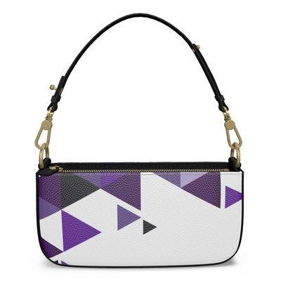 Medium Zip Box Bag - Geometric Triangles Purple