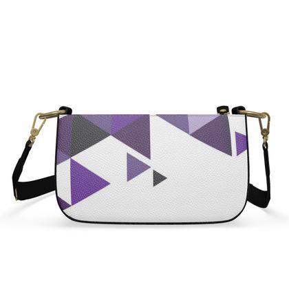 Small Zip Box Bag - Geometric Triangles Purple