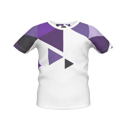 Boys Simple T-Shirt - Geometric Triangles Purple