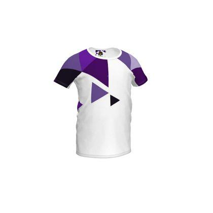 Girls Simple T-Shirt - Geometric Triangles Purple
