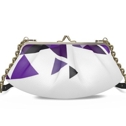 Large Pleated Frame Bag - Geometric Triangles Purple