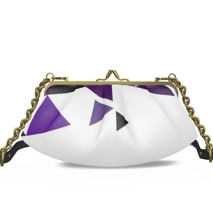Small Pleated Frame Bag - Geometric Triangles Purple