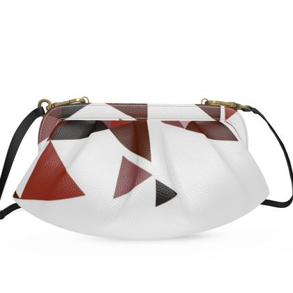 Large Pleated Soft Frame Bag - Geometric Triangles Red