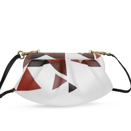 Small Pleated Soft Frame Bag - Geometric Triangles Red