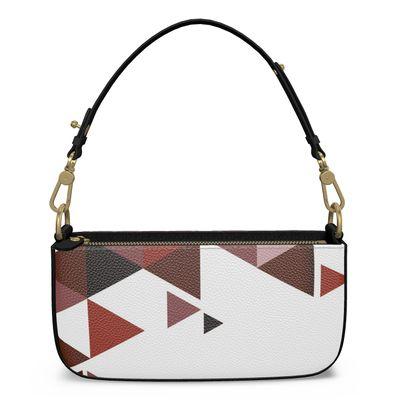 Medium Zip Box Bag - Geometric Triangles Red