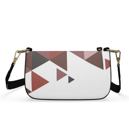 Small Zip Box Bag - Geometric Triangles Red