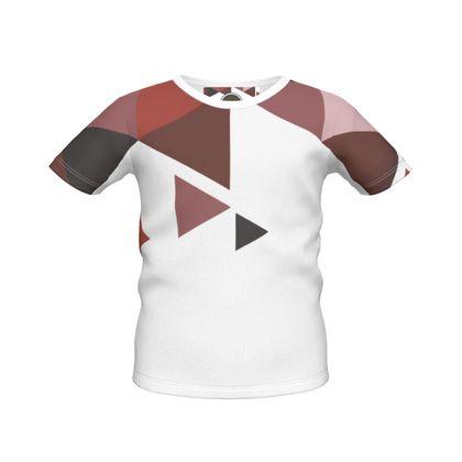 Boys Simple T-Shirt - Geometric Triangles Red