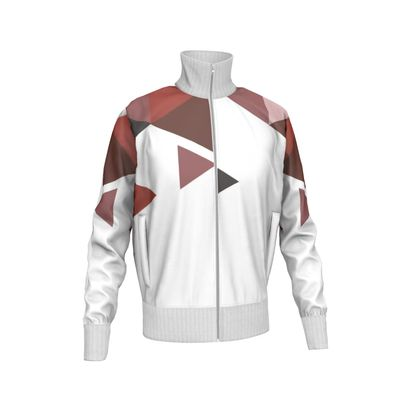 Mens Tracksuit Jacket - Geometric Triangles Red