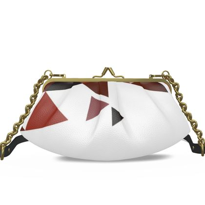 Small Pleated Frame Bag - Geometric Triangles Red