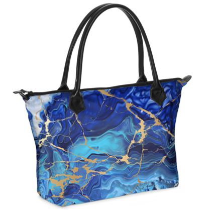 Zip Top Handbag Blue and Gold Marble