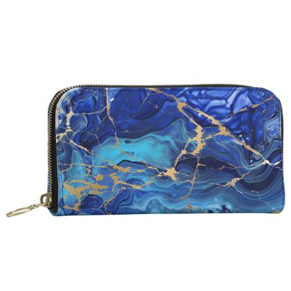 Leather Zip Purse Blue and Gold Marble