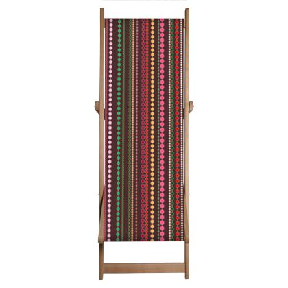Clay Beads - Deckchair - Boho style, multicolour stripes, vertically striped, African decor, bright brown, abstract, stylish, contrasting expressive gift - design by Tiana Lofd.