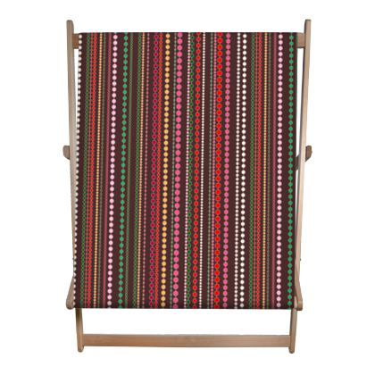 Clay Beads - Double Deckchair - Boho style, multicolour stripes, vertically striped, African decor, bright brown, abstract, stylish, contrasting expressive gift - design by Tiana Lofd.