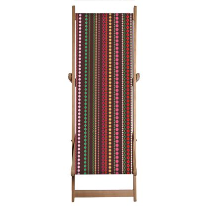 Clay Beads - Deckchair Sling - Boho style, multicolour stripes, vertically striped, African decor, bright brown, abstract, stylish, contrasting expressive gift - design by Tiana Lofd.