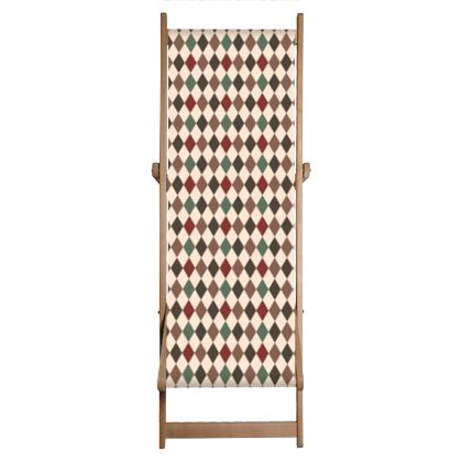 Autumn diamonds - Deckchair - rhombuses, beige warm palette, for children, abstract geometric pattern, classic design, fall, soft, elegant gift - design by Tiana Lofd