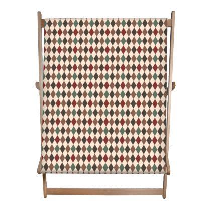 Autumn diamonds - Double Deckchair - rhombuses, beige warm palette, for children, abstract geometric pattern, classic design, fall, soft, elegant gift - design by Tiana Lofd