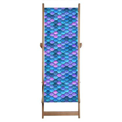 Mermaid skin - Deckchair - Fantasy, iridescent bright pink blue scales of dragon, fish tail, mermaid lover gift, sea creature, ocean - Tiana Lofd design