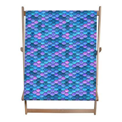 Mermaid skin - Double Deckchair - Fantasy, iridescent bright pink blue scales of dragon, fish tail, mermaid lover gift, sea creature, ocean - Tiana Lofd design