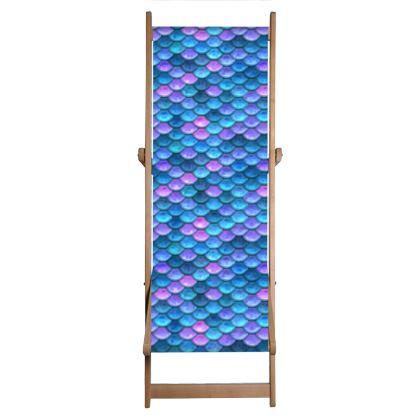 Mermaid skin - Deckchair Sling - Fantasy, iridescent bright pink blue scales of dragon, fish tail, mermaid lover gift, sea creature, ocean - Tiana Lofd design