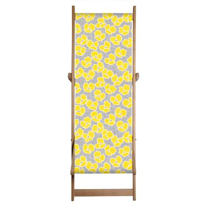 Sun poppies - Deckchair - Large yellow flowers, gray flax, trendy, bright gift, summer, blooming, floral, gray flax - design by Tiana Lofd