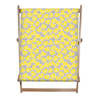 Sun poppies - Double Deckchair - Large yellow flowers, gray flax, trendy, bright gift, summer, blooming, floral, gray flax - design by Tiana Lofd