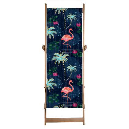 Pink flamingo - Deckchair Sling - tropical rain, palms, dark blue, navy, exotic, Bohemian, whimsical, resort, beach, bright, jungle, travel - design by Tiana Lofd