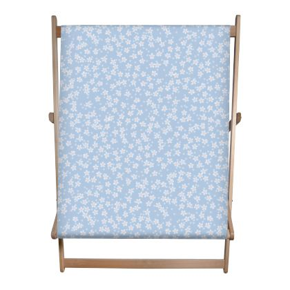 Forget-me-not - Double Deckchair - Spring floral, vintage granny chic, blooming white blue flowers, lovely, light, delicate, fine Boho-flowered gift - design by Tiana Lofd