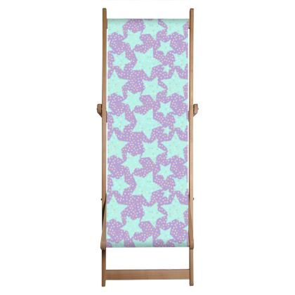 Luck Star - Deckchair - starry sky, lovely, soft, geometric, Turquoise, purple, lilac, gentle baby pattern nursery, kids stuff - Tiana Lofd design