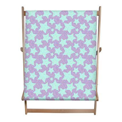 Luck Star - Double Deckchair - starry sky, lovely, soft, geometric, Turquoise, purple, lilac, gentle baby pattern nursery, kids stuff - Tiana Lofd design