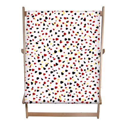 I do not care - Double Deckchair - abstract, bright strokes, colored dots, paint spots, expressive, light, simple, fresh, playful, cheerful, daring gift - design by Tiana Lofd