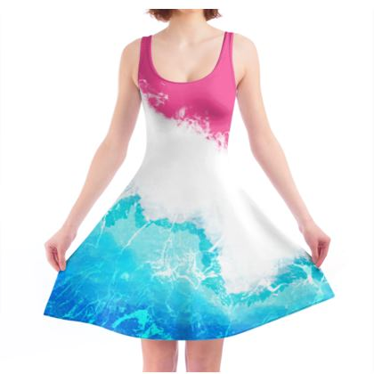 Watercolour wave skater dress