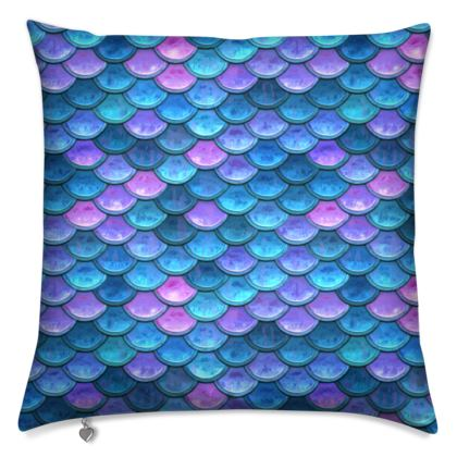 Mermaid skin - Cushions - Fantasy, iridescent bright pink blue scales of dragon, fish tail, mermaid lover gift, sea creature, ocean - Tiana Lofd design