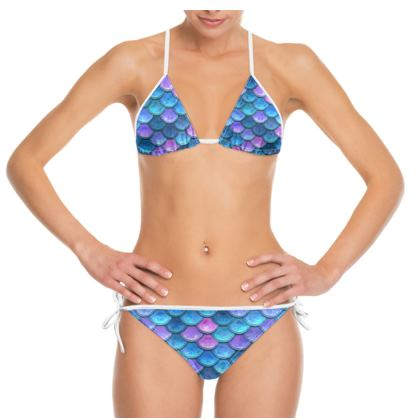 Mermaid skin - Bikini - Fantasy, iridescent bright pink blue scales of dragon, fish tail, mermaid lover gift, sea creature, ocean - Tiana Lofd design