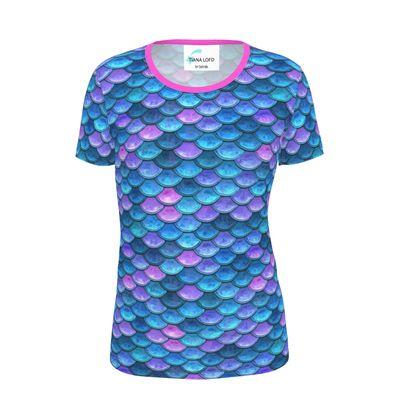 Mermaid skin - Ladies Cut and Sew T Shirt - Fantasy, iridescent bright pink blue scales of dragon, fish tail, mermaid lover gift, sea creature, ocean - Tiana Lofd design
