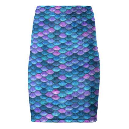 Mermaid skin - Pencil Skirt - Fantasy, iridescent bright pink blue scales of dragon, fish tail, mermaid lover gift, sea creature, ocean - Tiana Lofd design