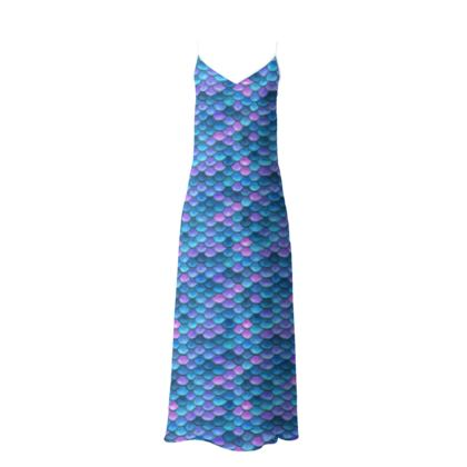 Mermaid skin - Slip Dress - Fantasy, iridescent bright pink blue scales of dragon, fish tail, mermaid lover gift, sea creature, ocean - Tiana Lofd design